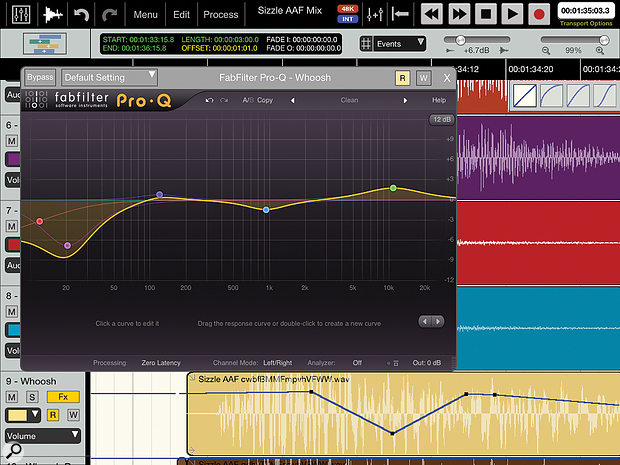 Auria's Edit screen with an instance of FabFilter'sbundled Pro Q EQ plug-in runningin the foreground.