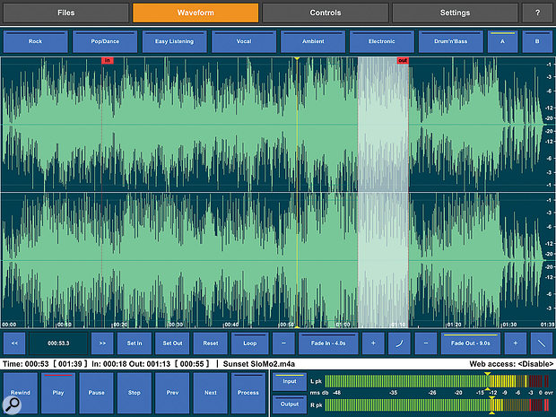 Audio Mastering's waveform view, where you can add fade-ins and fade-outs, and set in and out points.