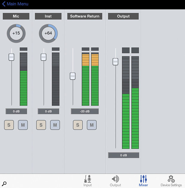 The mixer tab on Apogee's Maestro iPad app that accompanies the ONE. This page makes setting up a  zero-latency mix really simple, with level and pan controls for each input and some useful output meters.
