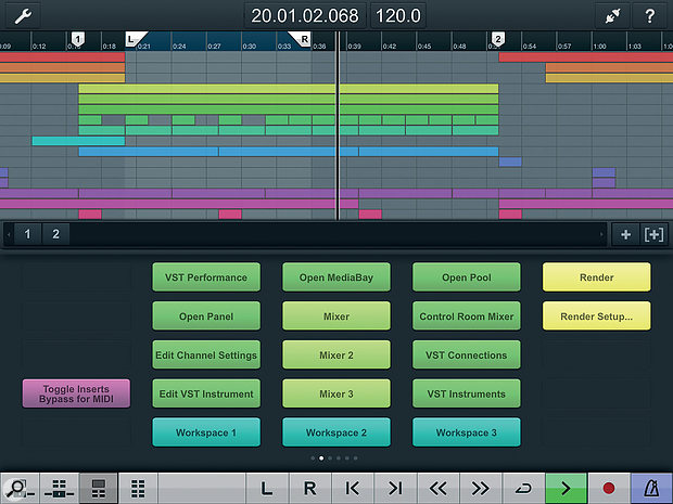 Cubase iC Pro, showing the Project and Key Command pages.