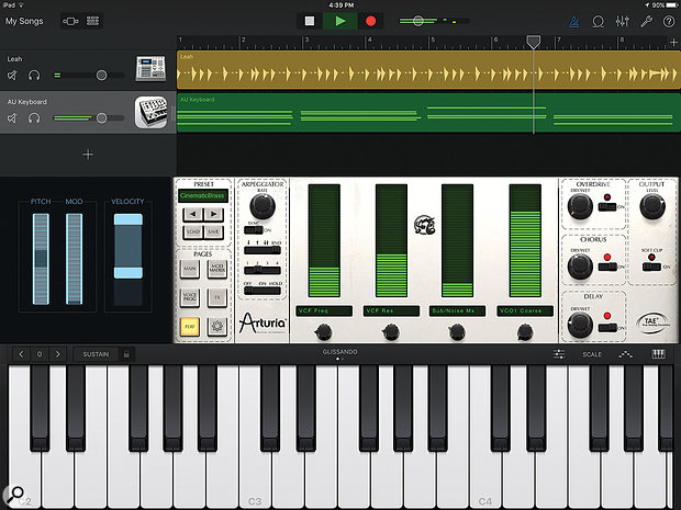 GarageBand 2.1 now takes advantage of the larger screen real–estate of the iPad Pro, allowing you to use the Tracks and Instrument views simultaneously. The Instrument view shows Arturia's iSEM running as an Audio Unit.