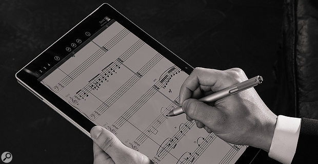 Writing music on a handheld tablet with orchestral playback; what would Beethoven have thought? Playback features include mute, solo and dynamic expression curve controls, while a built-in algorithmic reverb can create a  concert-hall-like acoustic.