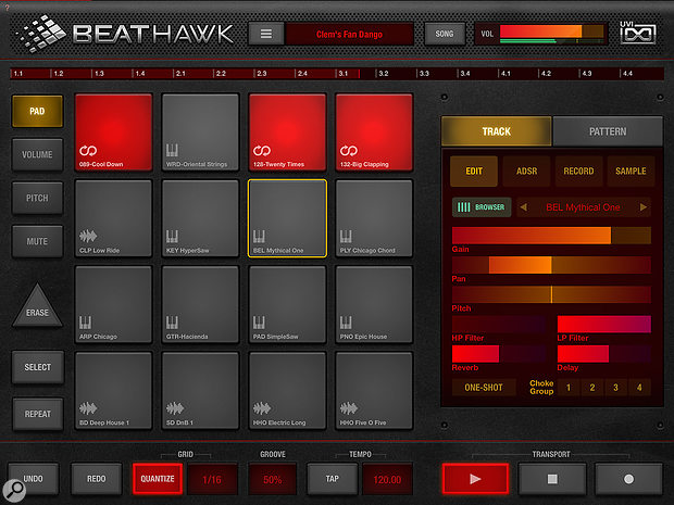 BeatHawk's main page is built around a familiar 4x4 pad grid.