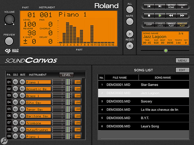 The Roland Sound Canvas app: orange LCD screen still intact.