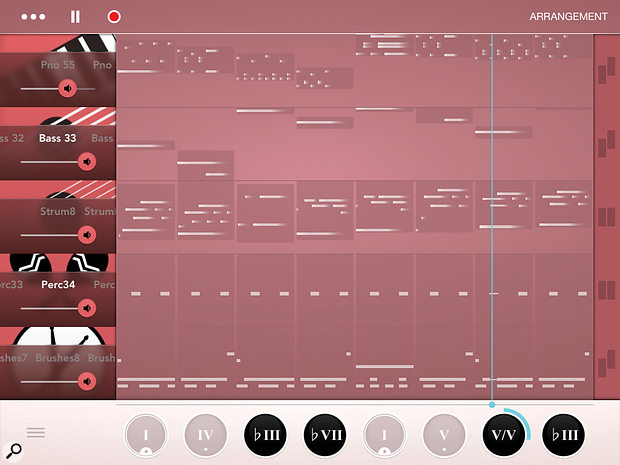 Rhythm's Sequence page gives you a  simple overview of your composition.