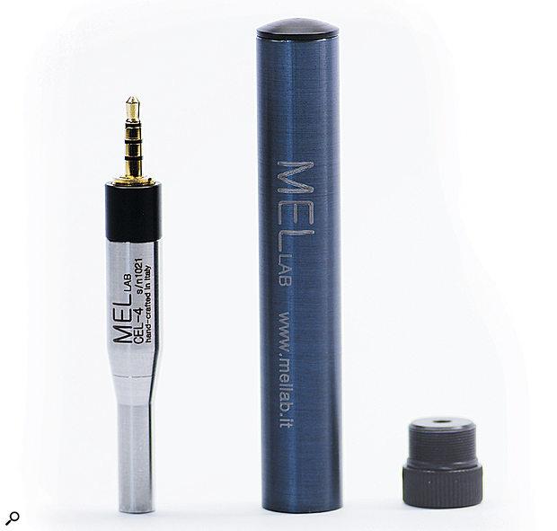 The Mel Lab Cel4 alongside its 8cm carry case.