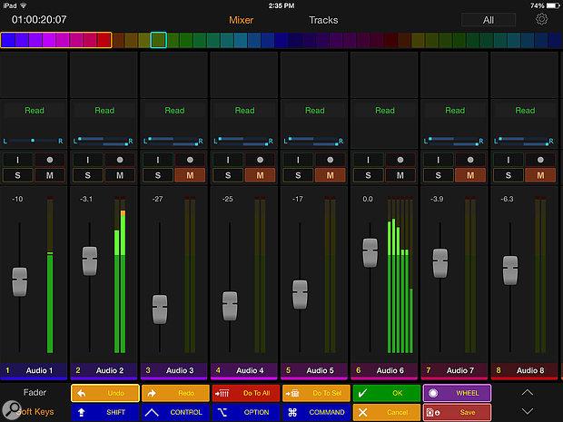 Pro Tools Control's Mixer view.