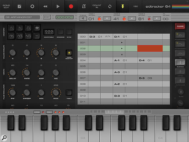 SidTracker's three voices, along with any effect automation, are programmed into a vertical–scrolling tracker sequencer.