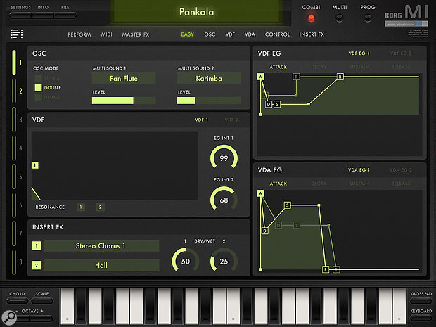 Korg iM1's main page certainly gives you a lot more information than the original's interface.
