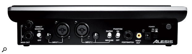 The rear panel of the iO Dock hosts most of the inputs and outputs, as well as controls for phantom power and direct monitoring.
