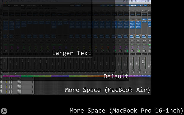 These three screens illustrate the track and channel counts you'll see using the different display scaling settings when running Logic ProX, Cubase and Pro Tools on a MacBook Air. For context, the larger black area illustrates the extra display real estate available with the highest scaled resolution on the 16-inch MacBook Pro.