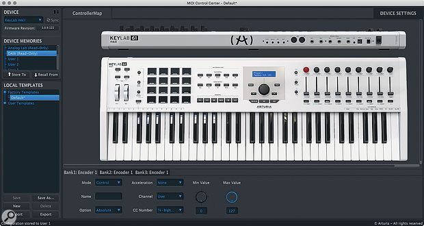 User control sets and the CV ports can be configured directly on the keyboard, or via the MIDI Control Center utility.