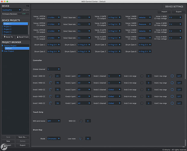 Arturia's MIDI Control Center software gives you a clear overview of what's going on and allows you to back up projects.