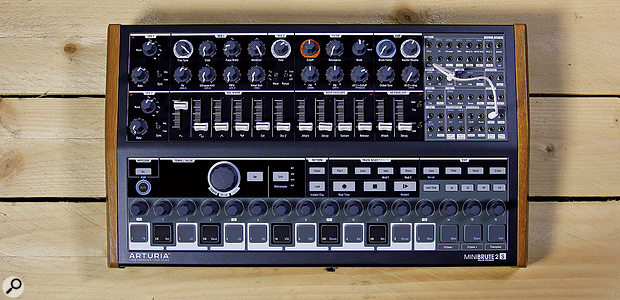 The MiniBrute 2S is smaller than its keyboarded sibling, its front panel measuring 484 x 280 mm.
