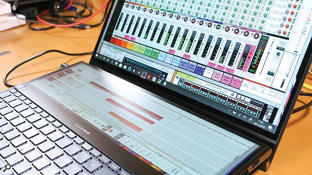 Asus ZenBook Pro Duo UX581GV ScreenPad close-up.