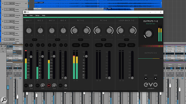 The EVO software mixer follows the same minimalist look as the hardware, but offers a lot more information about the settings.