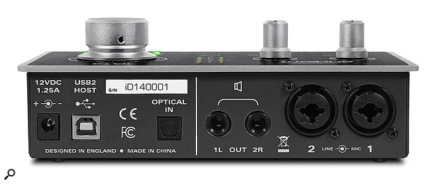The iD14's rear panel offers a  USB port, optical In, two quarter-inch outputs and a  pair of combi jack inputs.