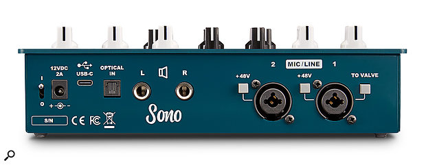 Sono's back panel features connections for two mic/line inputs, monitor outputs, an optical input, and a USB‑C port for computer interfacing.