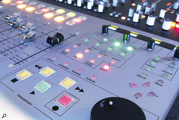 To the right of the faders is awell‑featured DAW transport-control section.