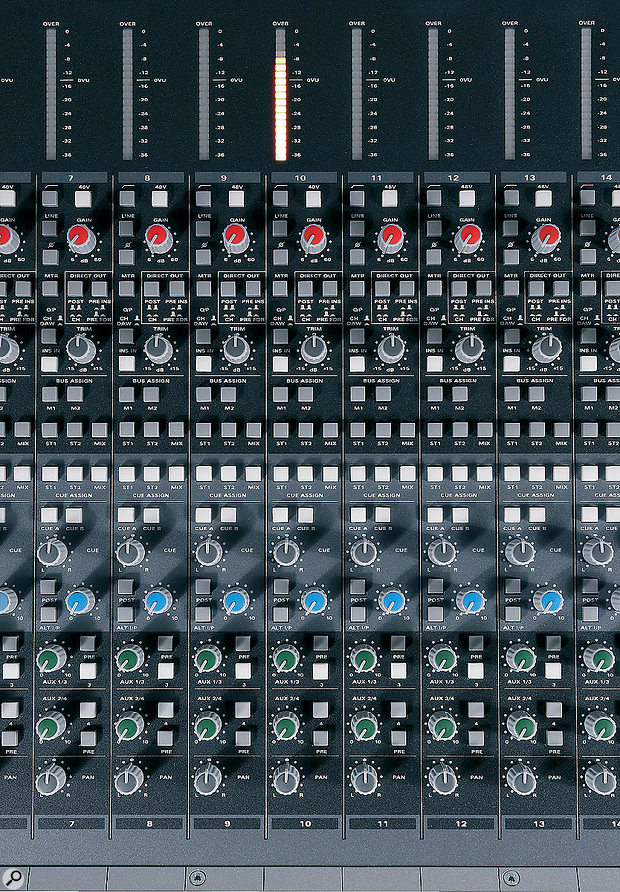 The array of push-buttons on each channel strip gives an indication of the extensive and  flexible routing options of the Zen console.