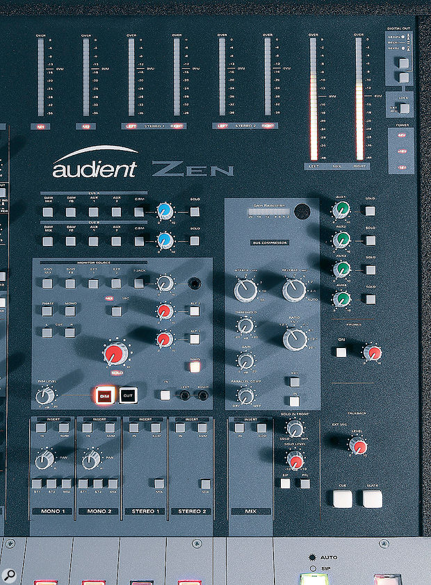 The master section includes controls for the built‑in bus compressor, which usefully includes awet/dry control for parallel compression applications.