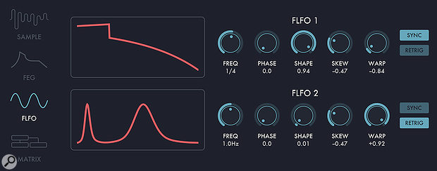 Unusual LFO waveforms are possible via Shape, Skew and Warp.