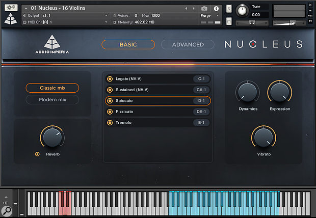 A model of elegant simplicity — the Nucleus GUI's 'Basic' view contains four knobs controlling reverb amount, dynamics, expression and vibrato amount.