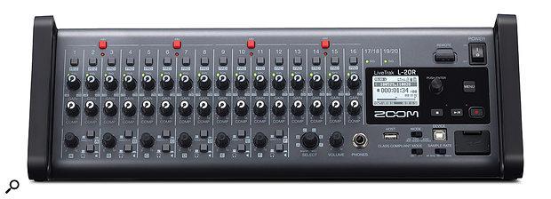 Zoom LiveTrak L-20R audio recorder.