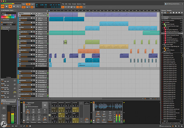 The Bitwig Studio interface in all its glory, with central Arrange view surrounded by transport, inspector, device panel and browser. These components and others can be split off to suit multi–monitor systems.