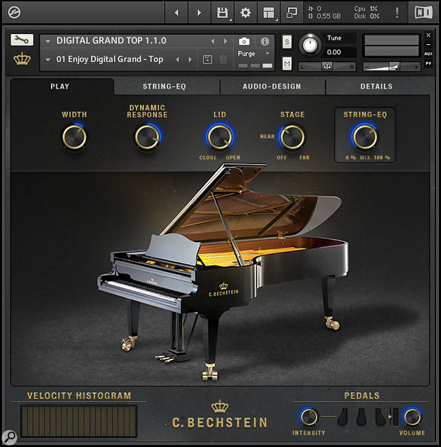 Bechstein's Digital Grand presents itself as alibrary in Kontakt, with separate instruments for each of its mic perspectives. The main Play page gathers together five main parameters that are mirrored by counterparts in other parts of the tabbed interface.