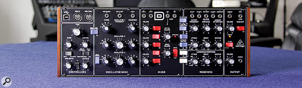 The Model D's front panel is considerably smaller than a Minimoog's, but manages to squeeze everything into its 374 x 136mm.