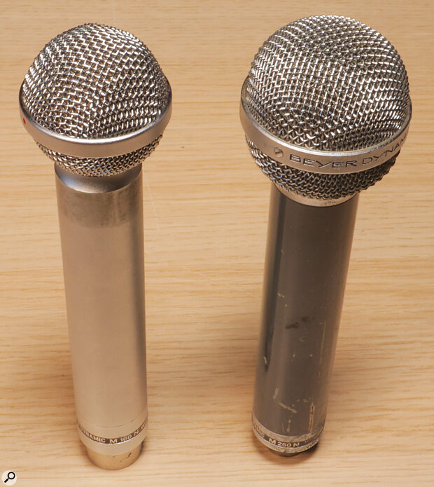 Despite having not one but two ribbons, the Beyer M160 (left) is one of the smallest ribbon mics ever made. The single‑ribbon M260 (right) is somewhat larger and has aslightly less extended frequency response.