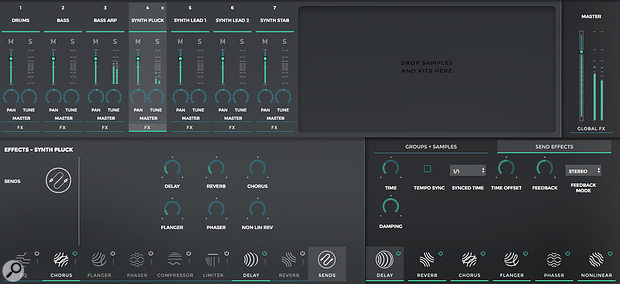 Each Mixer channel also offers insert and send effects options.