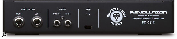 As an exclusively bus‑powered device, the Revolution 2x2's back panel features just apair of quarter‑inch audio outputs, coaxial S/PDIF I/O sockets and aUSB Type‑C port.