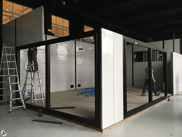 All the components of aBoxy room are fabricated off‑site, so final assembly is much quicker than atraditional studio build.