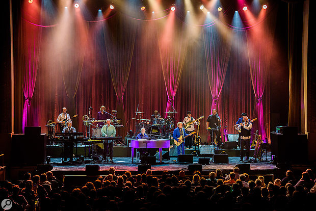 The anniversary tour band is comprised of 12 musicians, including Brian Wilson (centre).