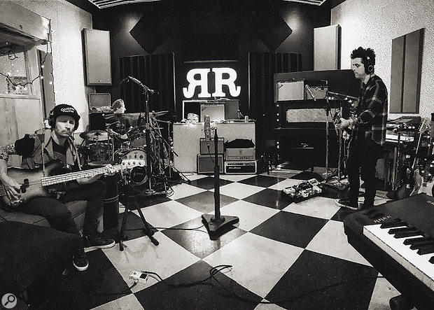 Green Day at Butch Walker's RubyRed studio. From left: Mike Dirnt, Tré Cool and Billie Joe Armstrong.