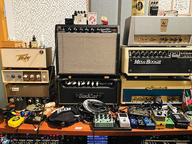Some of Butch Walker's amp and pedal collection.