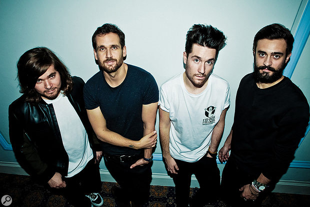 Bastille: from left, Chris Wood (drums), Will Farquarson (bass, guitar, keyboards), Dan Smith and Kyle Simmons (keyboards).