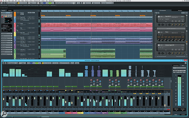 Cubase Pro 8 in all its glory, playing back one of the construction kits from the included Allen Morgan Pop-Rock Toolbox.