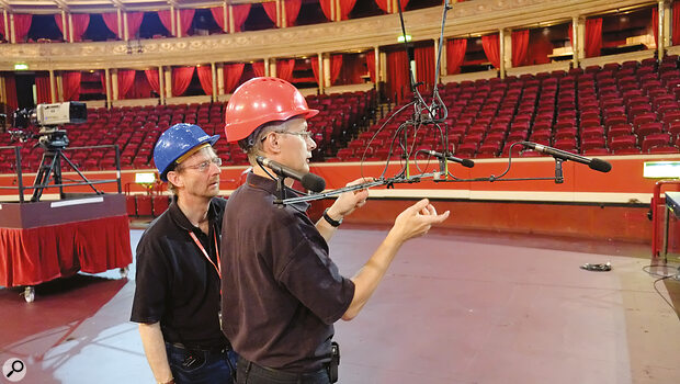 BBC engineers rig a Decca Tree of DPA 4006 mics at the Royal Albert Hall.