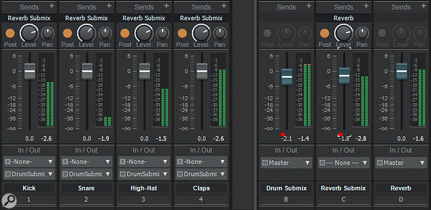 Screen 1: This setup pulls back on the drum track effects send levels when you reduce the drum submix level.