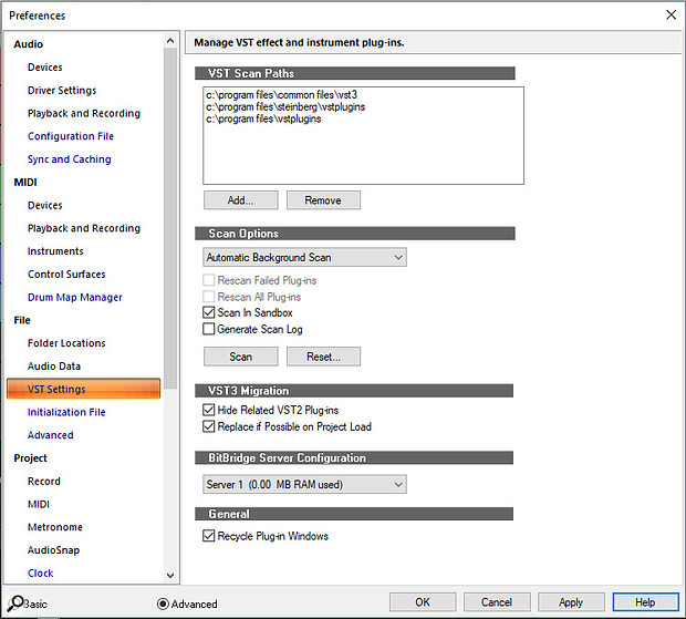 Preferences is the main location for editing global plug-in characteristics, including locations and scanning. behaviour.