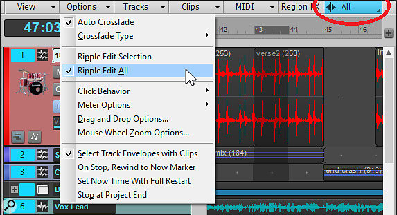 Screen 1: You can choose the ripple editing mode in the Track View Options menu. Note the indicator that shows whether ripple editing is on or off, and whether it affects All or Selection.