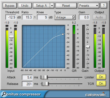 It doesn't look like fancy vintage hardware, but the simple, uncluttered interface makes the Compressor easy to use.