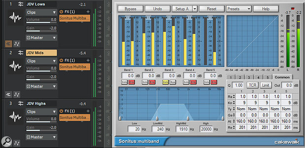 Screen 2: Multiband processing can be achieved by making duplicates of a  track and loading Sonitus Multiband on each copy, with different bands soloed on each instance.