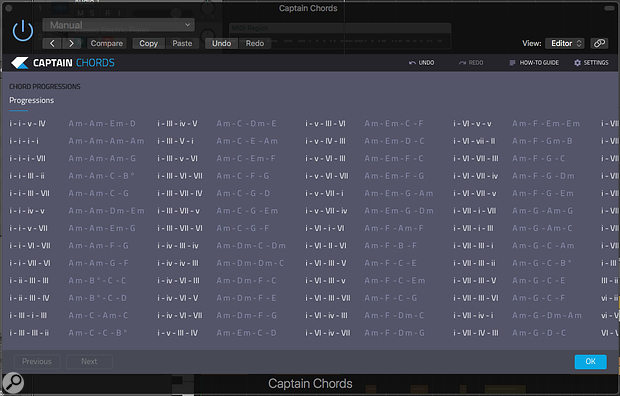 Captain Chords includes an extensive collection of four‑chord sequences to get you started.
