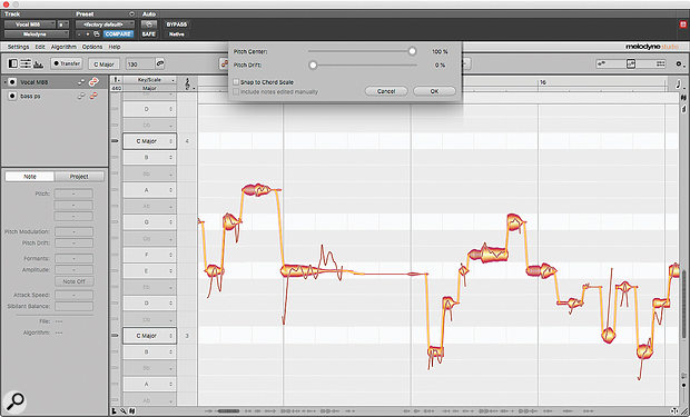The long note here is a good example of Melodyne 5's new weighted pitch centre algorithm in action. Note how it ignores the quiet, sharp section at the end of the note and positions it such that the first, loud section is centred.
