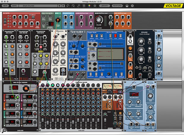 A drum kit patch with individual MIDI notes split out to triggers.