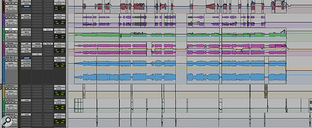 The final stage in Tim's mix process was to export stems that encapsulated his detailed instrumental edits and processing, and use parallel processing to 'glue' these together.